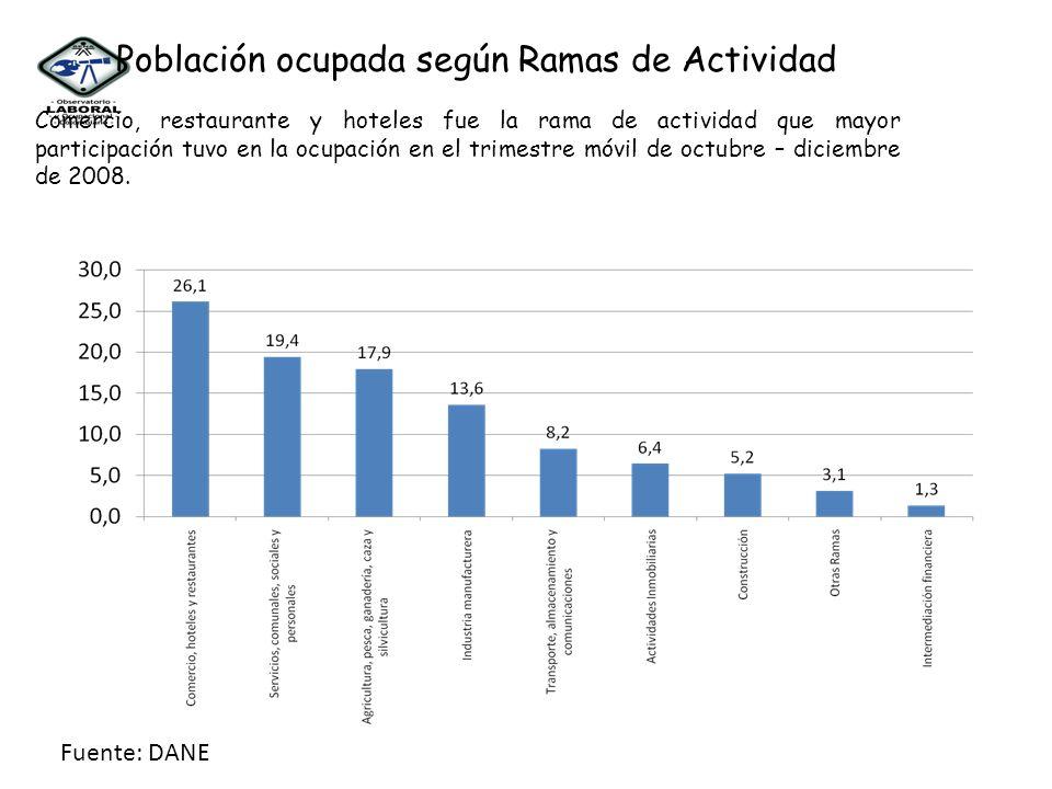 Comercio, restaurante y hoteles fue la rama de actividad que mayor participación tuvo en la ocupación en el trimestre móvil de octubre – diciembre de