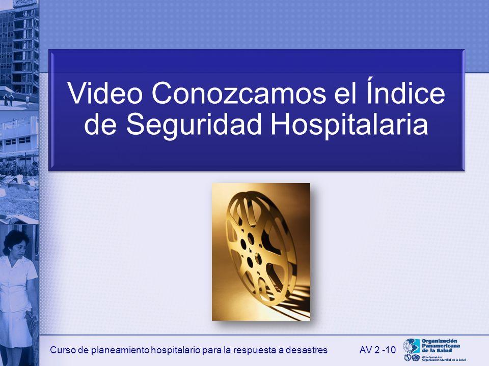 Curso de planeamiento hospitalario para la respuesta a desastres Video Conozcamos el Índice de Seguridad Hospitalaria AV 2 -10