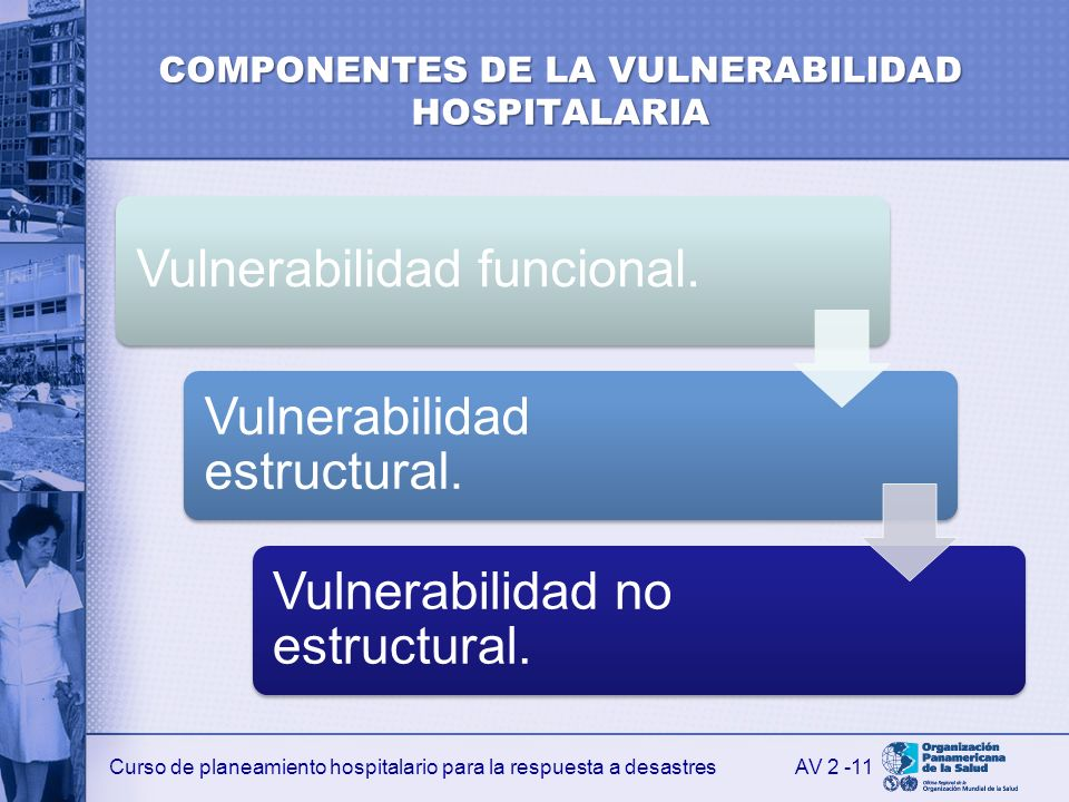 Curso de planeamiento hospitalario para la respuesta a desastres COMPONENTES DE LA VULNERABILIDAD HOSPITALARIA Vulnerabilidad funcional. Vulnerabilida