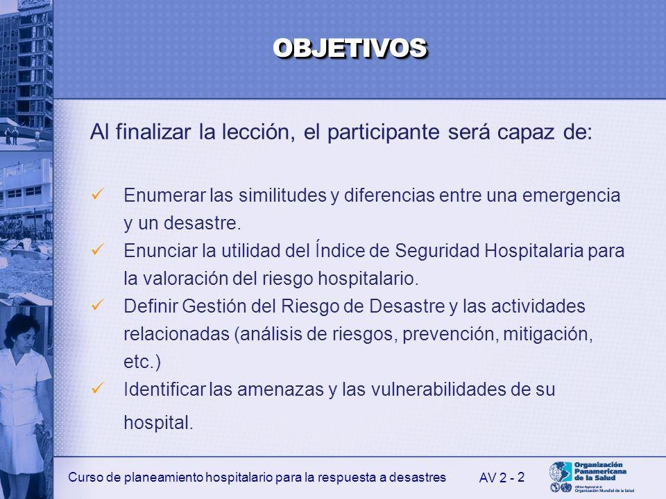 Curso de planeamiento hospitalario para la respuesta a desastres 2 Al finalizar la lección, el participante será capaz de: Enumerar las similitudes y