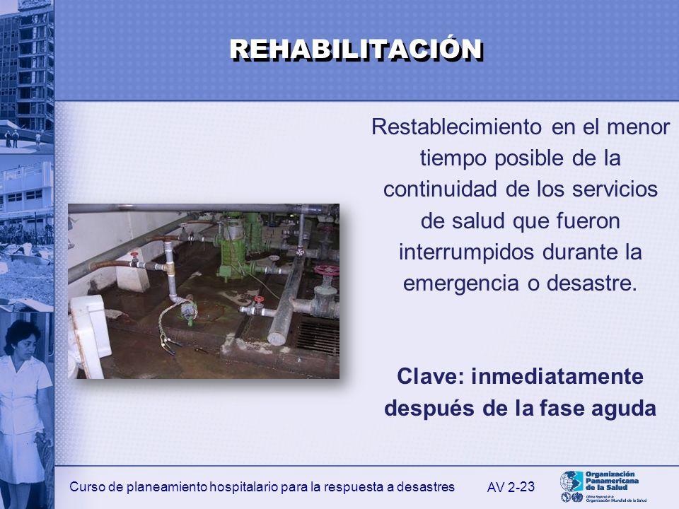 Curso de planeamiento hospitalario para la respuesta a desastres 23 Restablecimiento en el menor tiempo posible de la continuidad de los servicios de