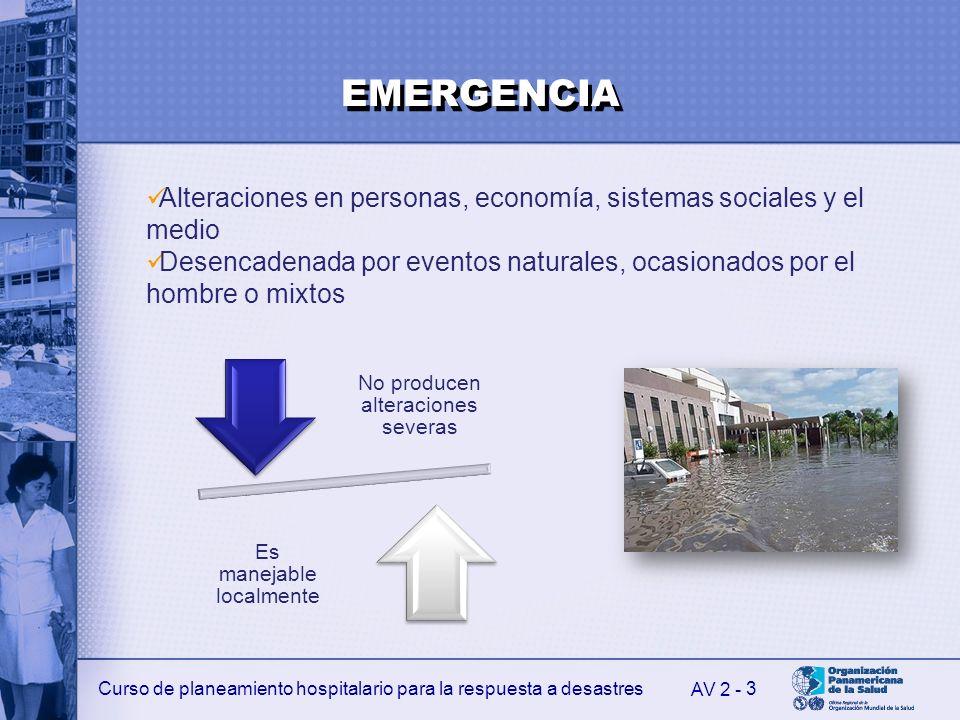 Curso de planeamiento hospitalario para la respuesta a desastres 3 AV 2 - EMERGENCIA No producen alteraciones severas Es manejable localmente Alteraci