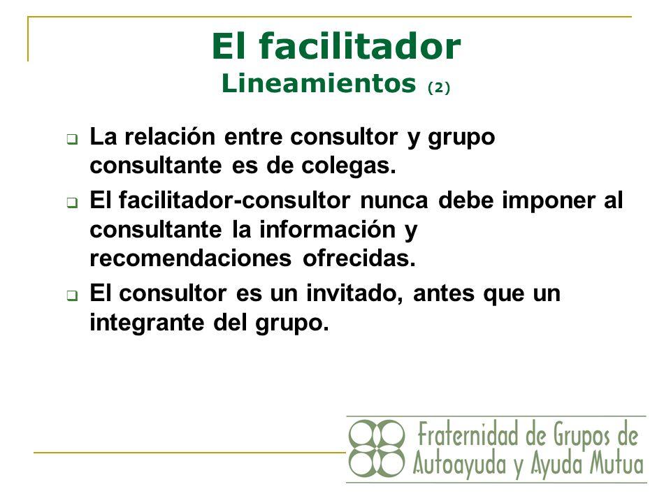 El facilitador Lineamientos (2) La relación entre consultor y grupo consultante es de colegas. El facilitador-consultor nunca debe imponer al consulta