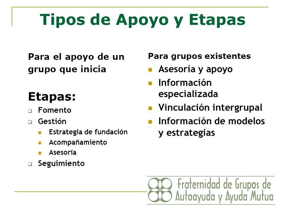 Tipos de Apoyo y Etapas Para el apoyo de un grupo que inicia Etapas: Fomento Gestión Estrategia de fundación Acompañamiento Asesoría Seguimiento Para