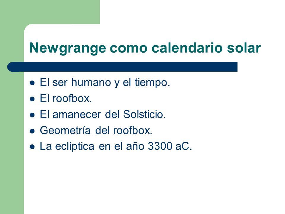 Newgrange como calendario solar El ser humano y el tiempo. El roofbox. El amanecer del Solsticio. Geometría del roofbox. La eclíptica en el año 3300 a
