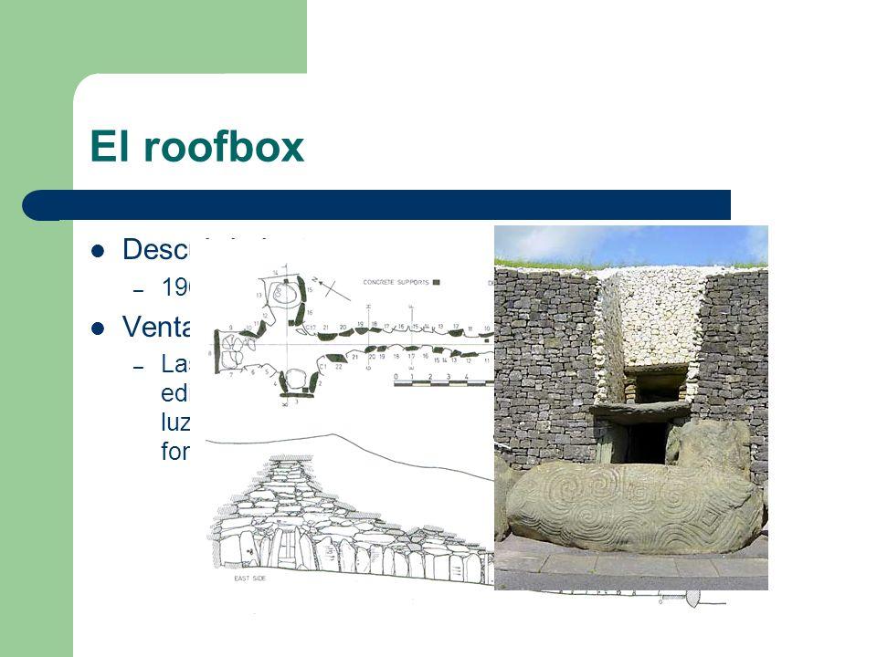 El roofbox Descubrimiento: – 1969 por O'Kelly Ventajas: – Las puertas sellarían el edificio mientras que la luz llegaría igualmente al fondo de la cám