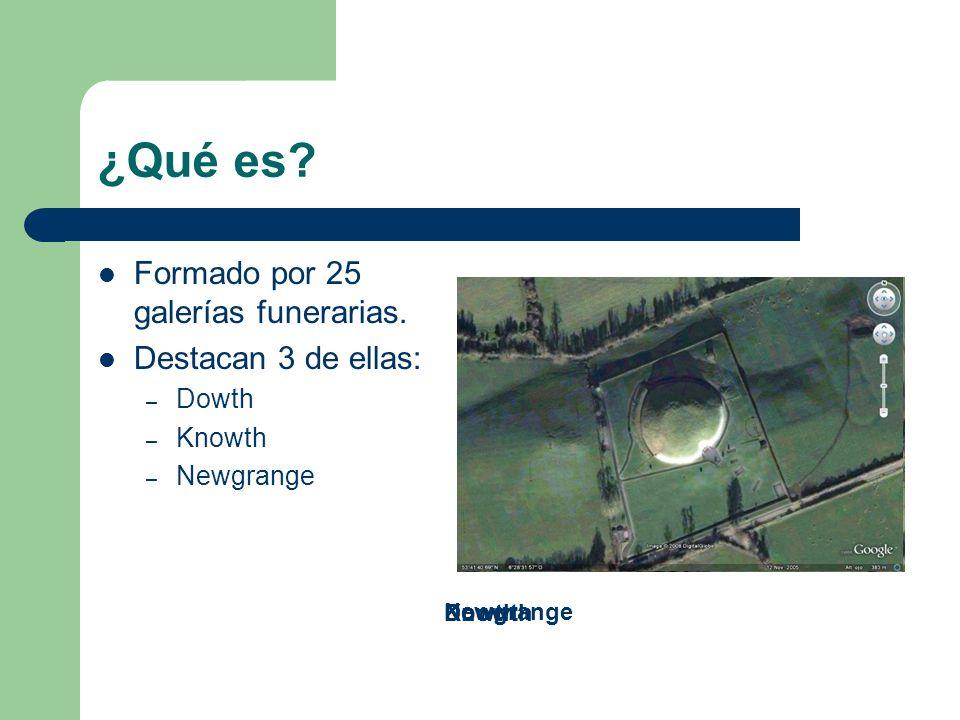 ¿Qué es? Formado por 25 galerías funerarias. Destacan 3 de ellas: – Dowth – Knowth – Newgrange DowthKnowth Newgrange