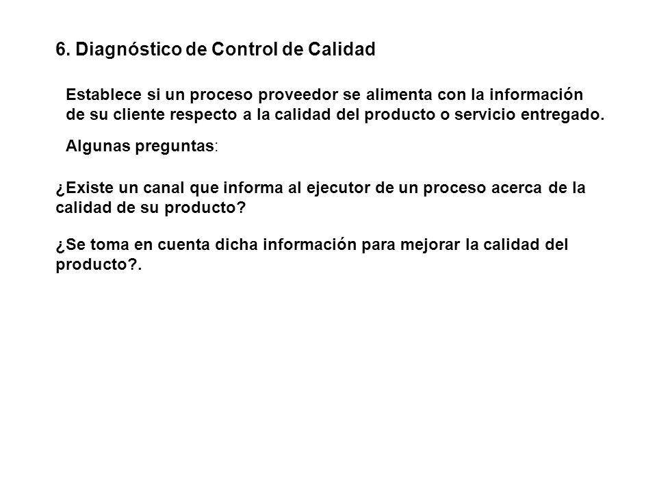 6. Diagnóstico de Control de Calidad Establece si un proceso proveedor se alimenta con la información de su cliente respecto a la calidad del producto