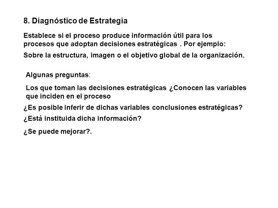 8. Diagnóstico de Estrategia Establece si el proceso produce información útil para los procesos que adoptan decisiones estratégicas. Por ejemplo: Los