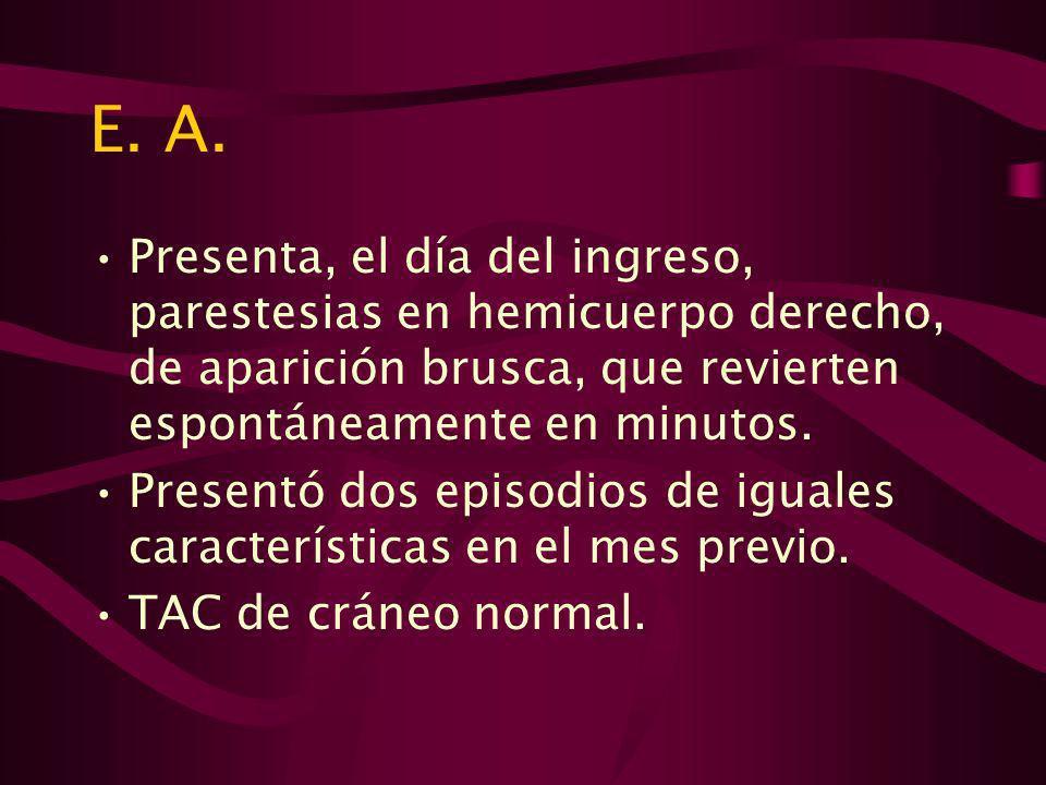 E.A. Con diagnostico de AIT a repetición ingresa para completar valoración y tratamiento.