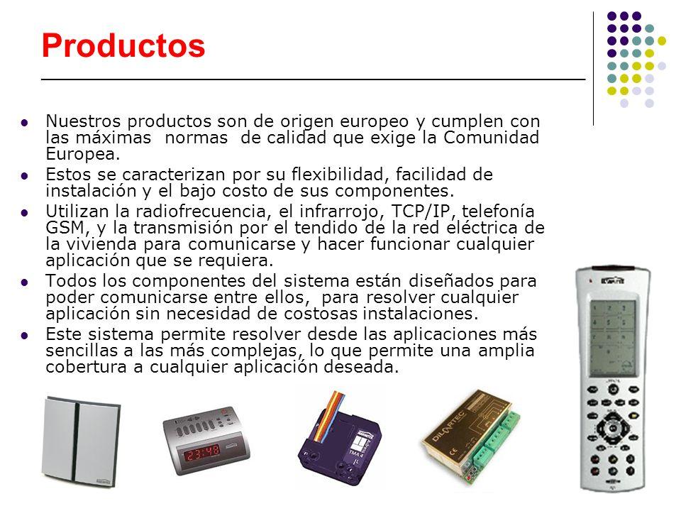 Productos __________________________________________________________________________ Sus principales ventajas: fácil instalación (ya que no requiere obra alguna, cableado adicional ni conocimientos técnicos específicos), flexibilidad (al tratarse de un sistema modular y fácilmente ampliable en cualquier momento según las necesidades del propio usuario), ahorro (tanto en el coste del producto como en su instalación y consumo energético del sistema), sencillez (al ser de fácil manejo y comprensión, los productos le acabarán resultando al usuario tan habituales como el resto de elementos del hogar o comercio), personalización (ya que permite al usuario configurar el sistema Domótico adaptándolo a cualquier tipo de necesidad) y funcionalidad (al integrar seguridad, confort, comunicación y ahorro de energía en un único sistema de fácil manejo).