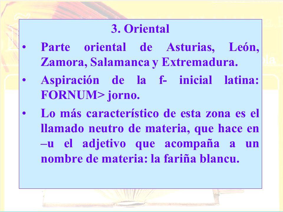 3. Oriental Parte oriental de Asturias, León, Zamora, Salamanca y Extremadura. Aspiración de la f- inicial latina: FORNUM> jorno. Lo más característic