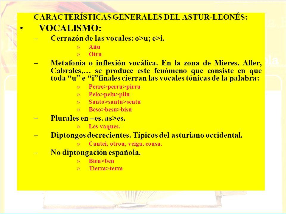 CARACTERÍSTICAS GENERALES DEL ASTUR-LEONÉS: VOCALISMO: –Cerrazón de las vocales: o>u; e>i. »Añu »Otru –Metafonía o inflexión vocálica. En la zona de M