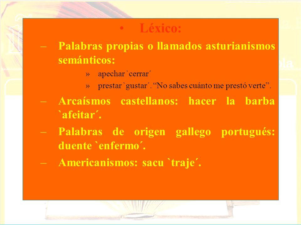 Léxico: –Palabras propias o llamados asturianismos semánticos: »apechar `cerrar´ »prestar `gustar´. No sabes cuánto me prestó verte. –Arcaísmos castel