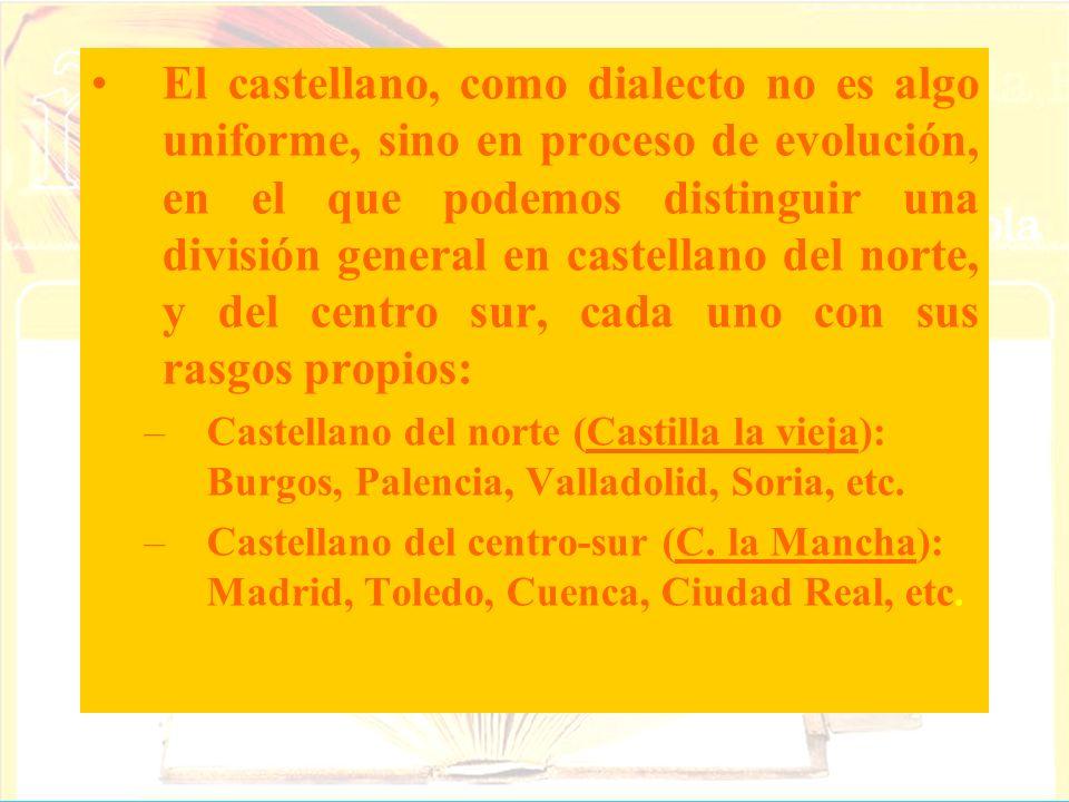 El castellano, como dialecto no es algo uniforme, sino en proceso de evolución, en el que podemos distinguir una división general en castellano del no