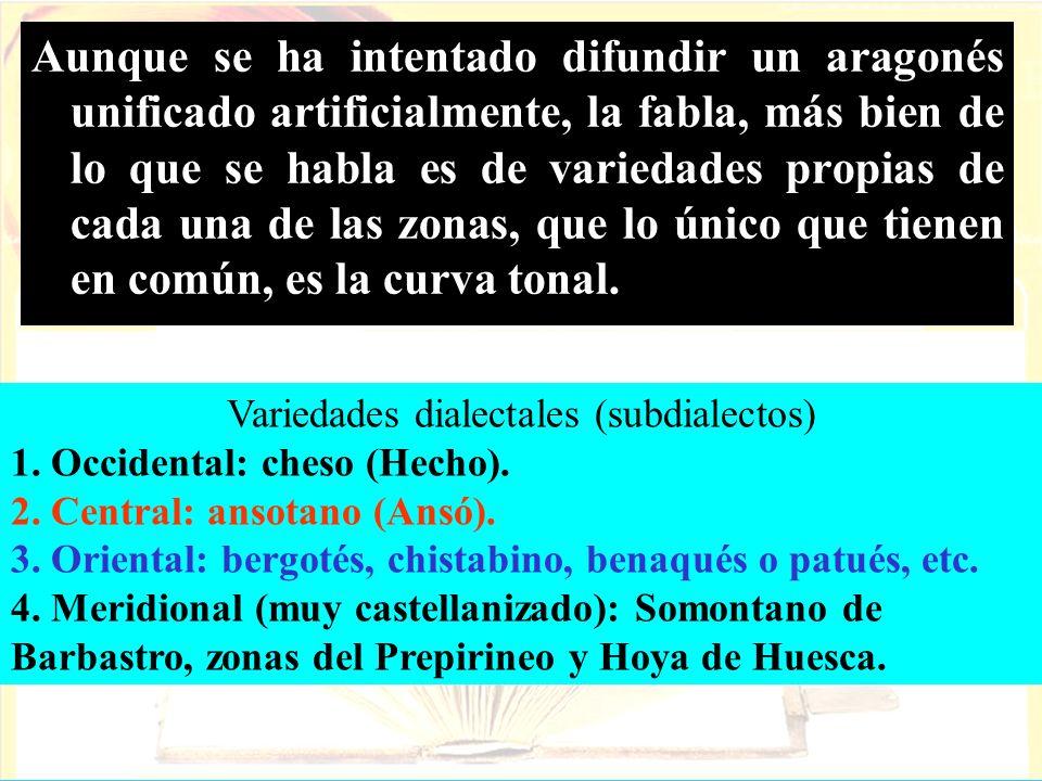 Aunque se ha intentado difundir un aragonés unificado artificialmente, la fabla, más bien de lo que se habla es de variedades propias de cada una de l