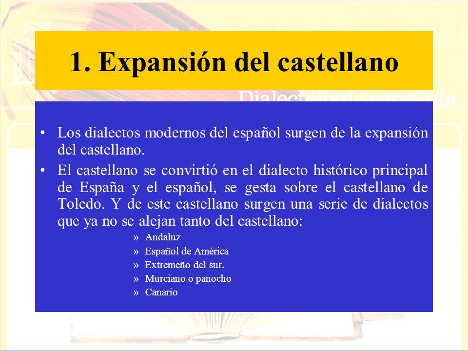 1. Expansión del castellano Los dialectos modernos del español surgen de la expansión del castellano. El castellano se convirtió en el dialecto histór