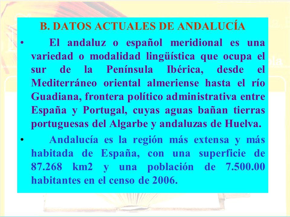 B. DATOS ACTUALES DE ANDALUCÍA El andaluz o español meridional es una variedad o modalidad lingüística que ocupa el sur de la Península Ibérica, desde
