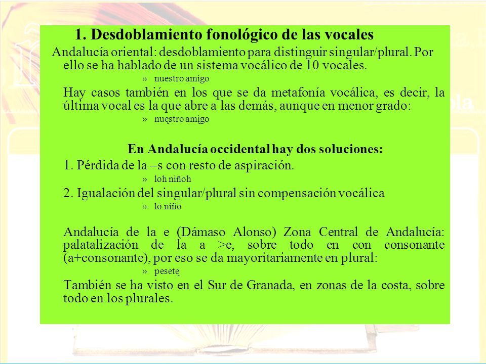 1. Desdoblamiento fonológico de las vocales Andalucía oriental: desdoblamiento para distinguir singular/plural. Por ello se ha hablado de un sistema v