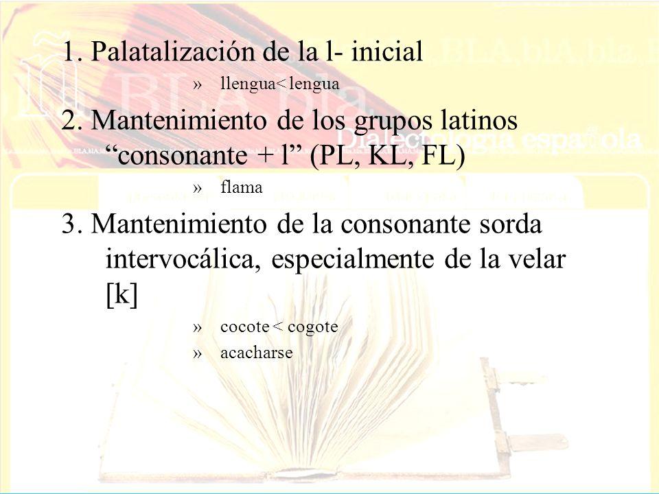 1. Palatalización de la l- inicial »llengua< lengua 2. Mantenimiento de los grupos latinos consonante + l (PL, KL, FL) »flama 3. Mantenimiento de la c