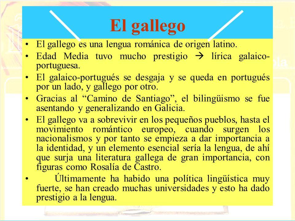 El gallego El gallego es una lengua románica de origen latino. Edad Media tuvo mucho prestigio lírica galaico- portuguesa. El galaico-portugués se des