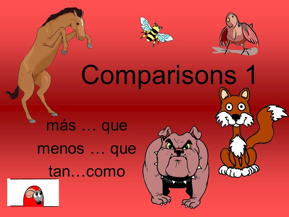 Comparisons 1 más … que menos … que tan…como