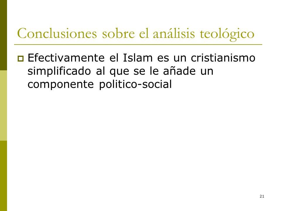 21 Conclusiones sobre el análisis teológico Efectivamente el Islam es un cristianismo simplificado al que se le añade un componente politico-social
