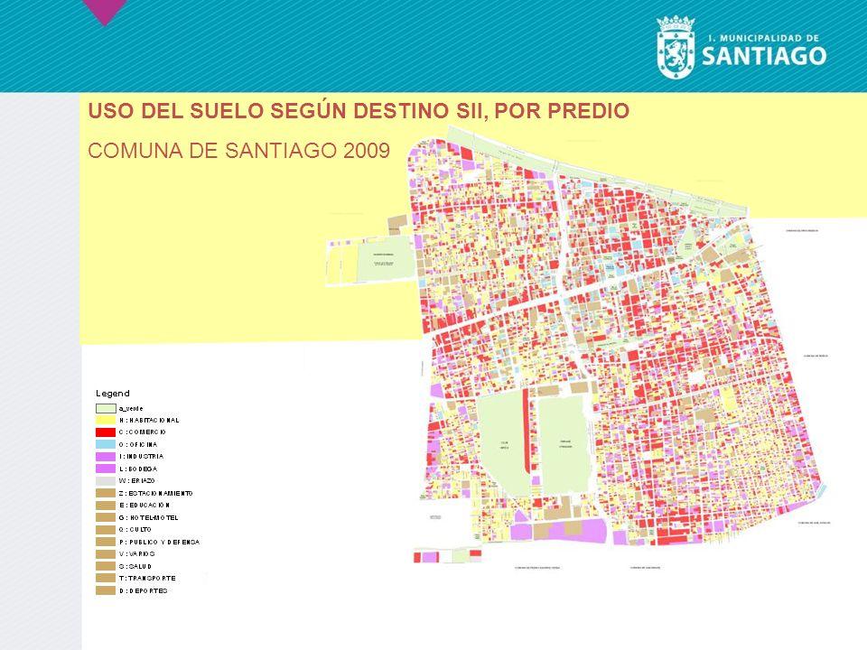 USO DEL SUELO SEGÚN DESTINO SII, POR PREDIO COMUNA DE SANTIAGO 2009