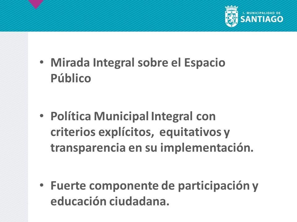 Mirada Integral sobre el Espacio Público Política Municipal Integral con criterios explícitos, equitativos y transparencia en su implementación. Fuert