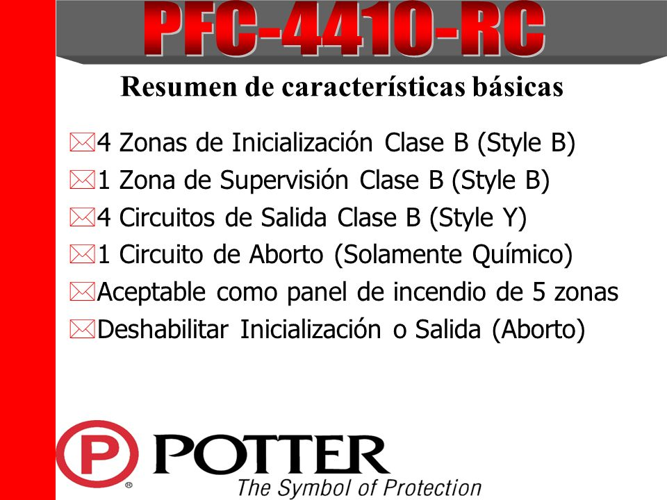 The Symbol of Protection Resumen de características básicas *4 Zonas de Inicialización Clase B (Style B) *1 Zona de Supervisión Clase B (Style B) *4 C