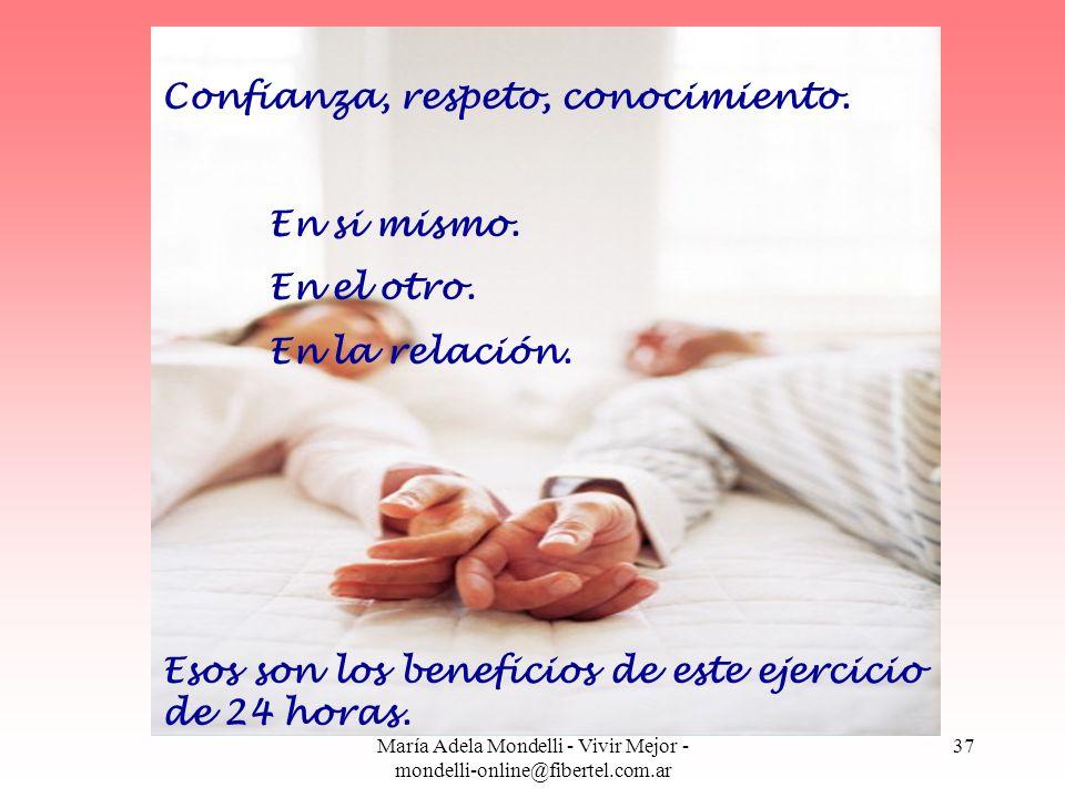 María Adela Mondelli - Vivir Mejor - mondelli-online@fibertel.com.ar 37 Confianza, respeto, conocimiento. En si mismo. En el otro. En la relación. Eso