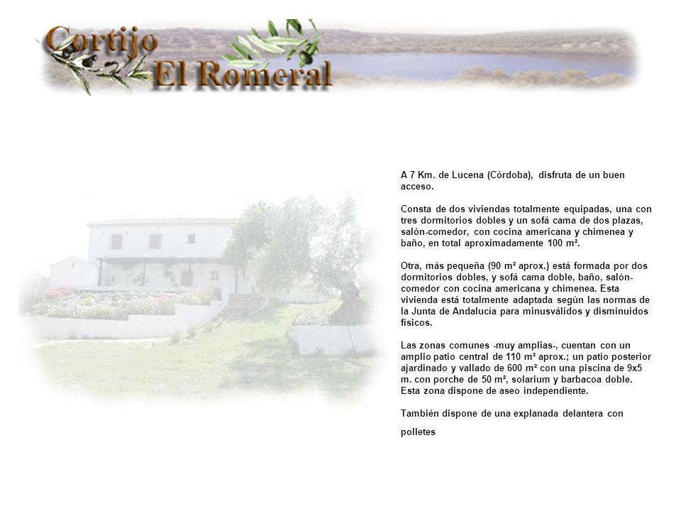 A 7 Km. de Lucena (Córdoba), disfruta de un buen acceso. Consta de dos viviendas totalmente equipadas, una con tres dormitorios dobles y un sofá cama