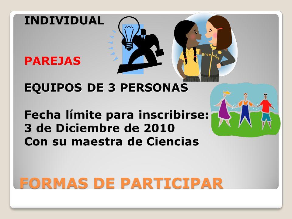 FORMAS DE PARTICIPAR INDIVIDUAL PAREJAS EQUIPOS DE 3 PERSONAS Fecha límite para inscribirse: 3 de Diciembre de 2010 Con su maestra de Ciencias