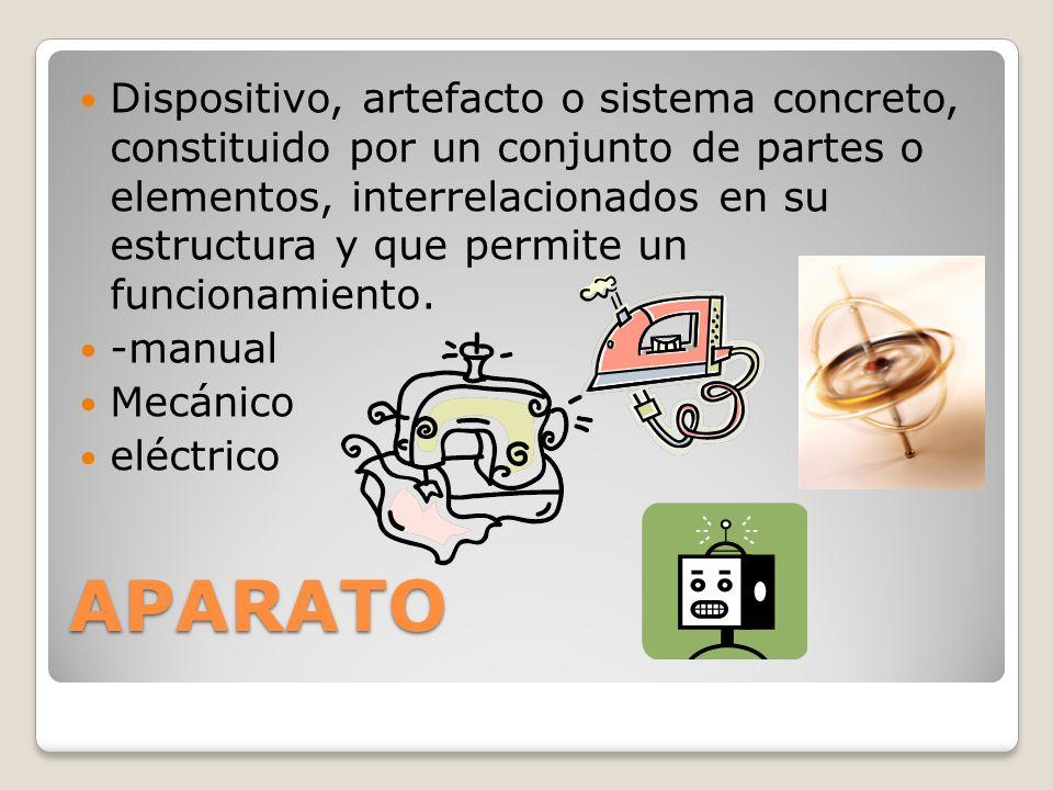 APARATO Dispositivo, artefacto o sistema concreto, constituido por un conjunto de partes o elementos, interrelacionados en su estructura y que permite