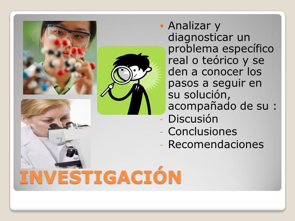 INVESTIGACIÓN Analizar y diagnosticar un problema específico real o teórico y se den a conocer los pasos a seguir en su solución, acompañado de su : -