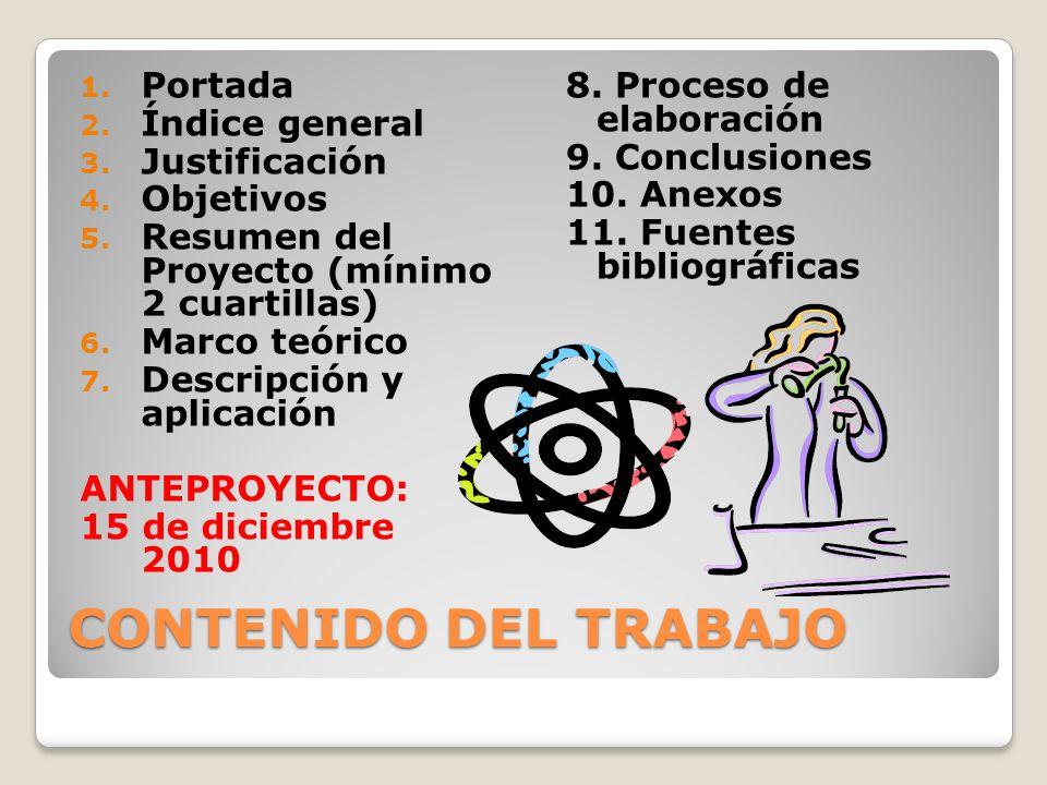 CONTENIDO DEL TRABAJO 1. Portada 2. Índice general 3. Justificación 4. Objetivos 5. Resumen del Proyecto (mínimo 2 cuartillas) 6. Marco teórico 7. Des