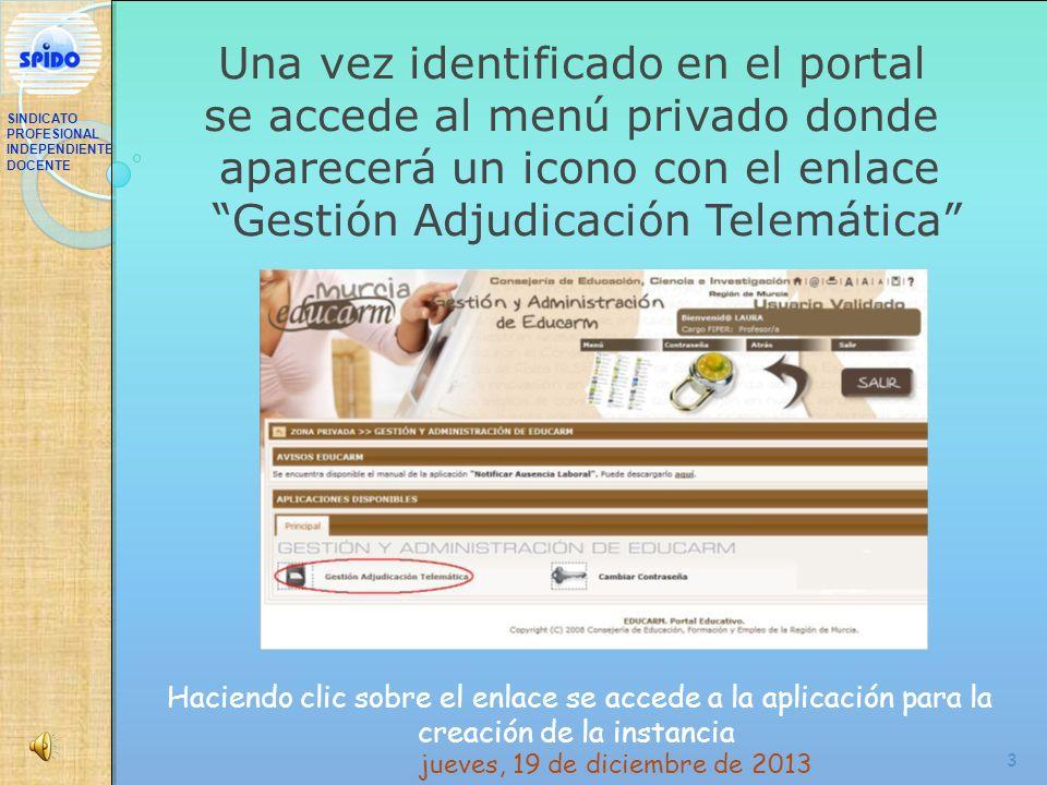 3 Una vez identificado en el portal se accede al menú privado donde aparecerá un icono con el enlace Gestión Adjudicación Telemática Haciendo clic sob