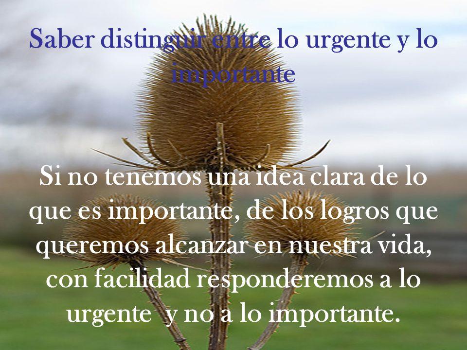 Saber distinguir entre lo urgente y lo importante Si no tenemos una idea clara de lo que es importante, de los logros que queremos alcanzar en nuestra