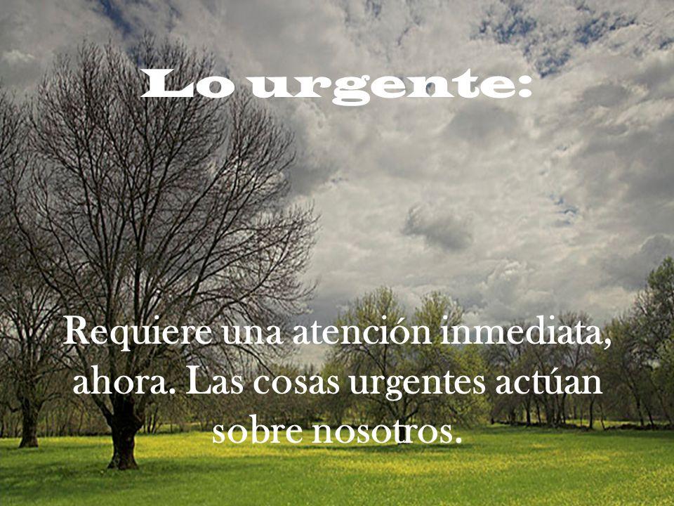 Lo urgente: Requiere una atención inmediata, ahora. Las cosas urgentes actúan sobre nosotros.