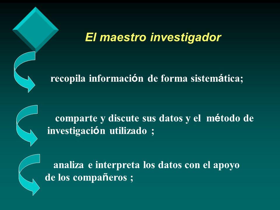 El maestro investigador recopila informaci ó n de forma sistem á tica; comparte y discute sus datos y el m é todo de investigaci ó n utilizado ; anali