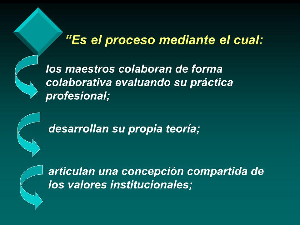 Es el proceso mediante el cual: los maestros colaboran de forma colaborativa evaluando su práctica profesional; desarrollan su propia teoría; articula