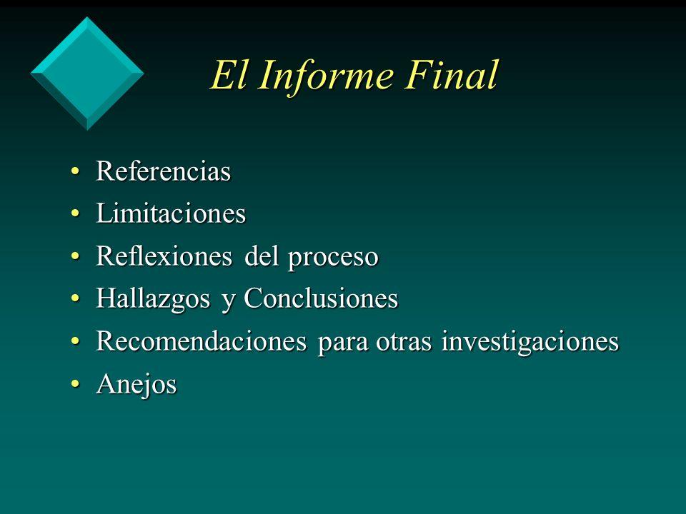 El Informe Final ReferenciasReferencias LimitacionesLimitaciones Reflexiones del procesoReflexiones del proceso Hallazgos y ConclusionesHallazgos y Co