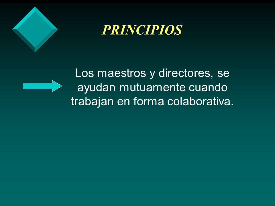 PRINCIPIOS · Trabajar con colegas ayuda a los maestros y directores en su desarrollo profesional.