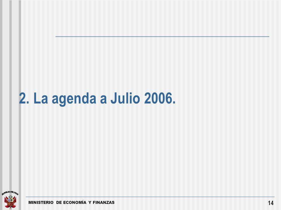 MINISTERIO DE ECONOMÍA Y FINANZAS 14 2. La agenda a Julio 2006.