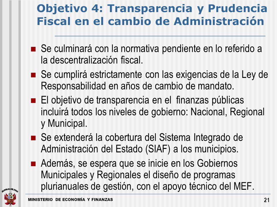 MINISTERIO DE ECONOMÍA Y FINANZAS 21 Se culminará con la normativa pendiente en lo referido a la descentralización fiscal.