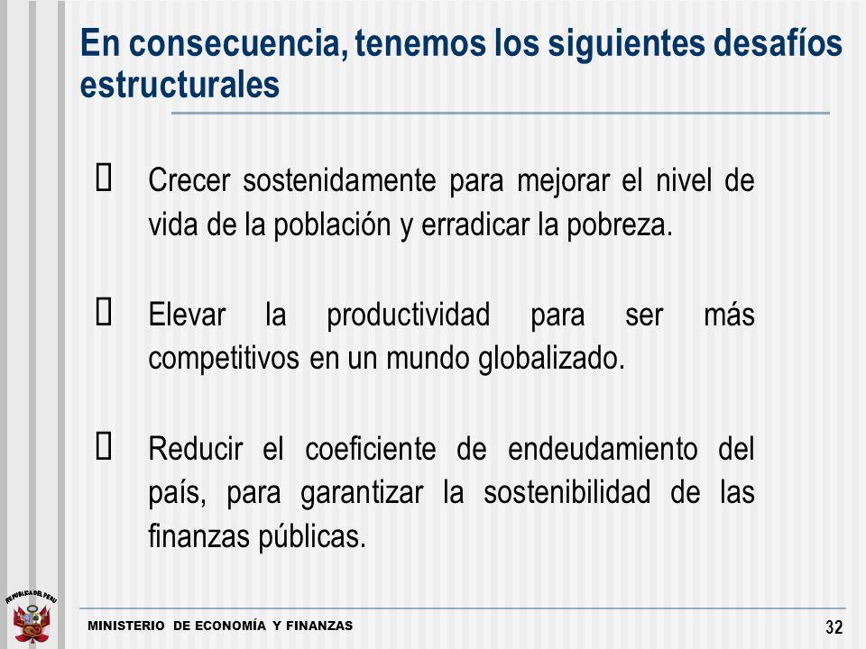MINISTERIO DE ECONOMÍA Y FINANZAS 32 Crecer sostenidamente para mejorar el nivel de vida de la población y erradicar la pobreza.