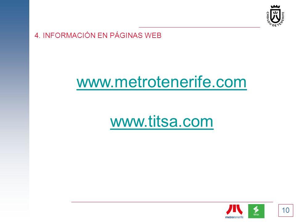 10 4. INFORMACIÓN EN PÁGINAS WEB www.metrotenerife.com www.titsa.com