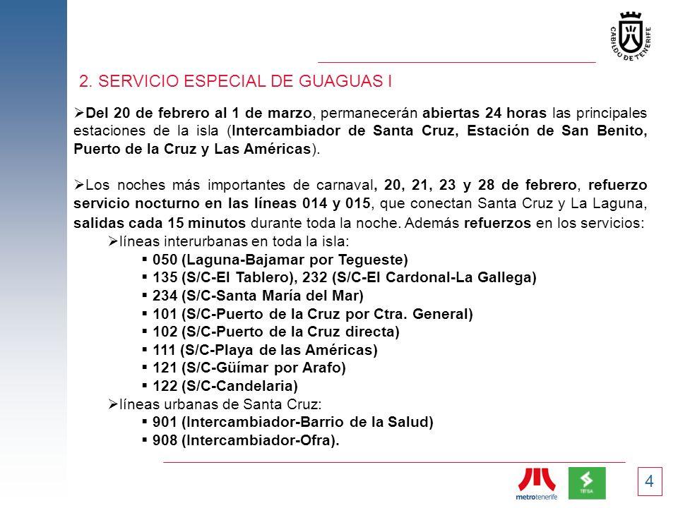 4 2. SERVICIO ESPECIAL DE GUAGUAS I Del 20 de febrero al 1 de marzo, permanecerán abiertas 24 horas las principales estaciones de la isla (Intercambia