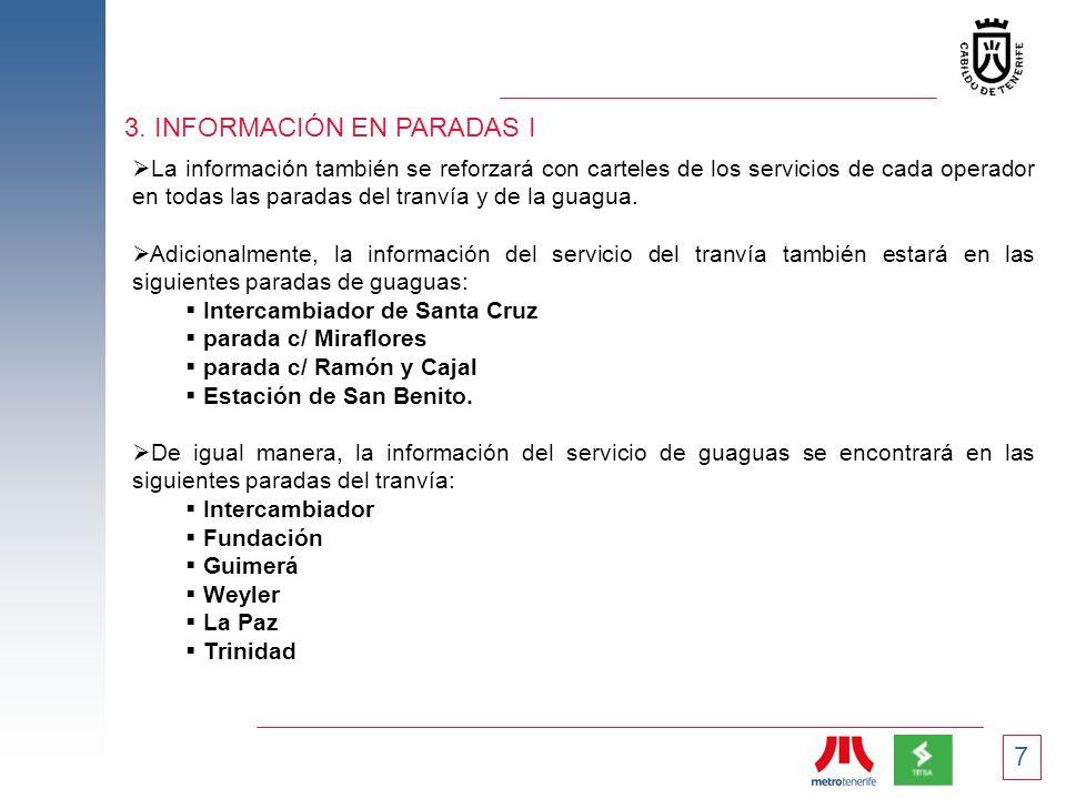 7 3. INFORMACIÓN EN PARADAS I La información también se reforzará con carteles de los servicios de cada operador en todas las paradas del tranvía y de