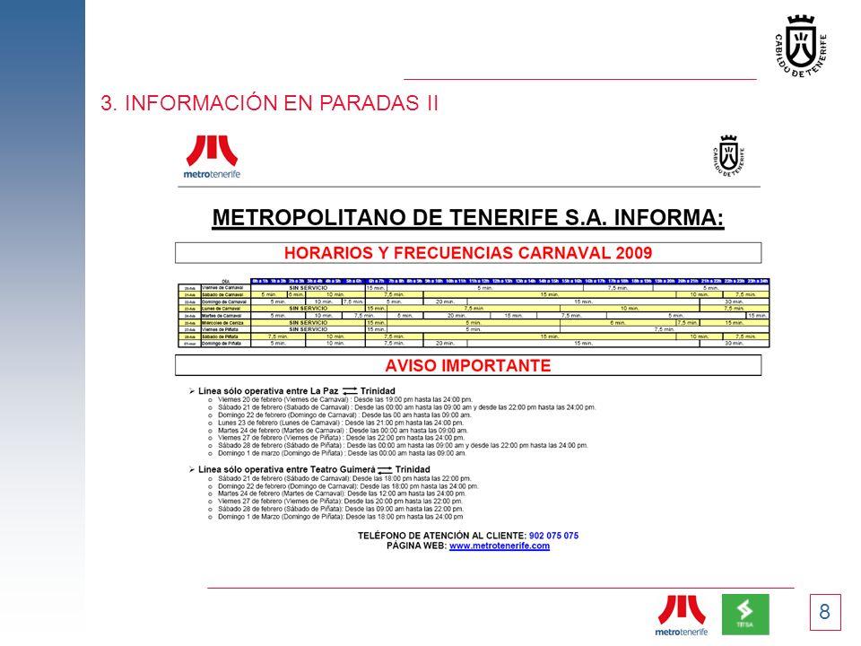 8 3. INFORMACIÓN EN PARADAS II